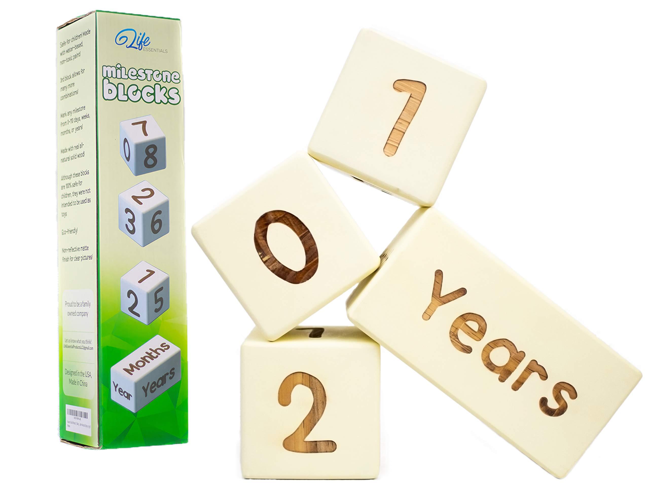 Life Essentials Baby Milestone Age Blocks | Natural Solid Wood | Days, Weeks, Months, Years | Newborn Gender Neutral (Boy or Girl) | Picture Photo Prop | Baby Shower Gender Reveal