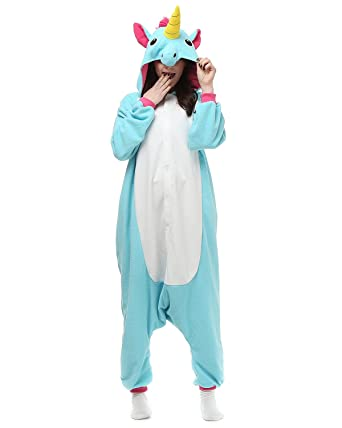 Adult Onesies Blue Unicorn Pajamas Onesie For Women Men Costume Cosplay Partywear Halloween Small