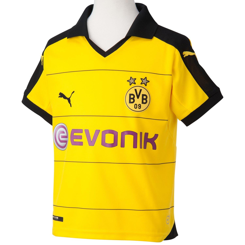 Puma BVB Home Replica Shirt with Sponsor - Camiseta de equipación de fútbol para niño,
