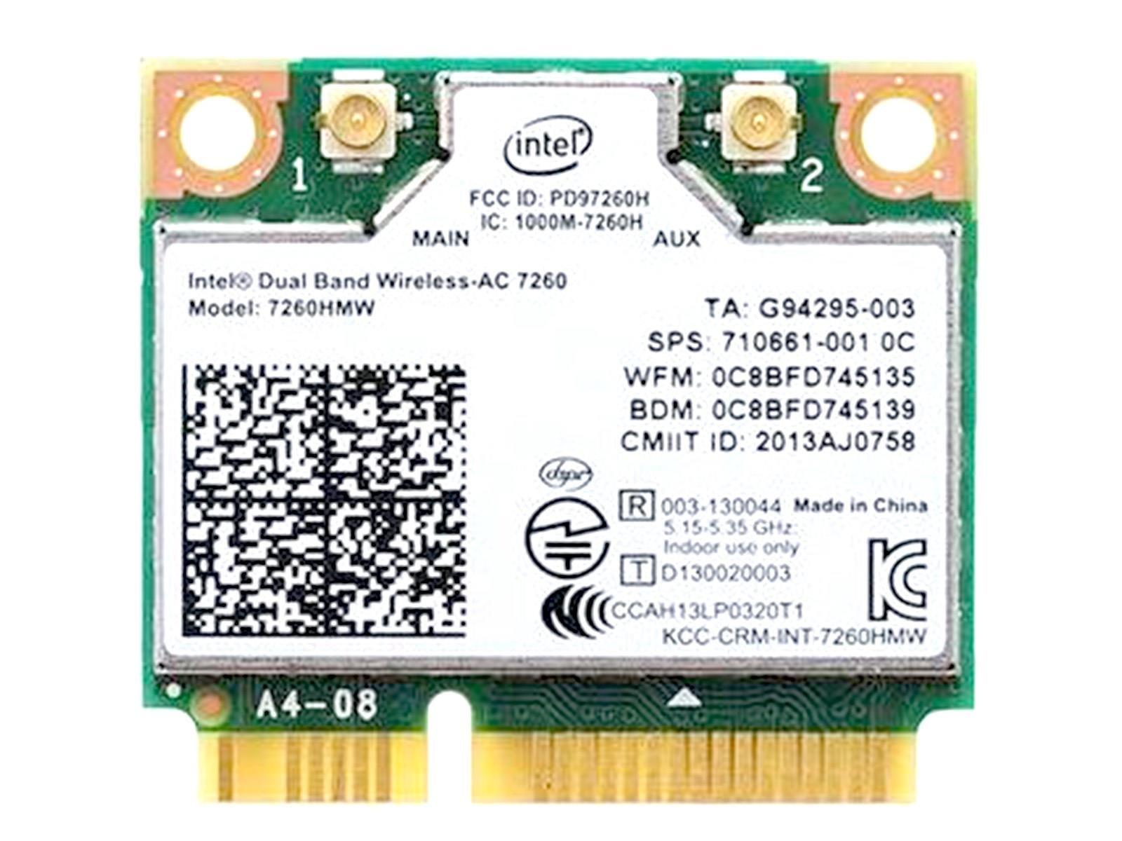 intel Dual Band Wireless-AC 7260 7260HMW Half Mini PCIe PCI-express WLAN WIFI Card Module 802.11 ac/a/b/g/n 867Mbps BlueTooth BT