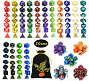 QMAY DND Dice Set, 140PCS Polyhedral Game Dice, 20 Color Colors DND Dice Role Playing Dice Complete with for Dungeon and Dra