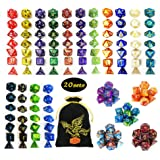 QMAY DND Dice Set, 140PCS Polyhedral Game Dice, 20 Color Colors DND Dice Role Playing Dice Complete with for Dungeon and…