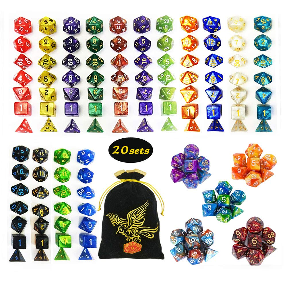 QMAY DND Dice Set, 140PCS Polyhedral Game Dice, 20 Color Double-Colors DND Dice Role Playing Dice for Dungeon and Dragons DND RPG MTG Table Games Dice D4 D8 D10 D12 D20 by QMAY