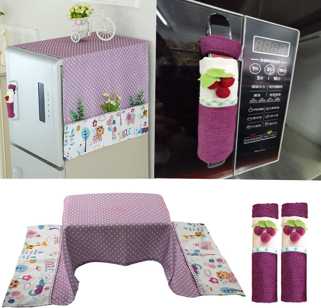 KEFAN Package of Fridge Dust Cover and Microwave Handle Cover Cotton Linen Cover for Washing Machine Oven Home Appliance (Purple)