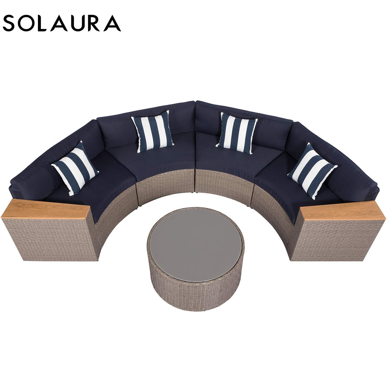 Solaura - Juego de muebles de exterior de 5 piezas de media luna ...