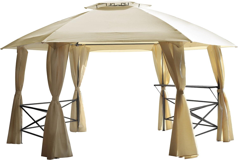 DEGAMO Lima - Cenador (hexagonal, 350 cm, acero, techo impermeable), color natural