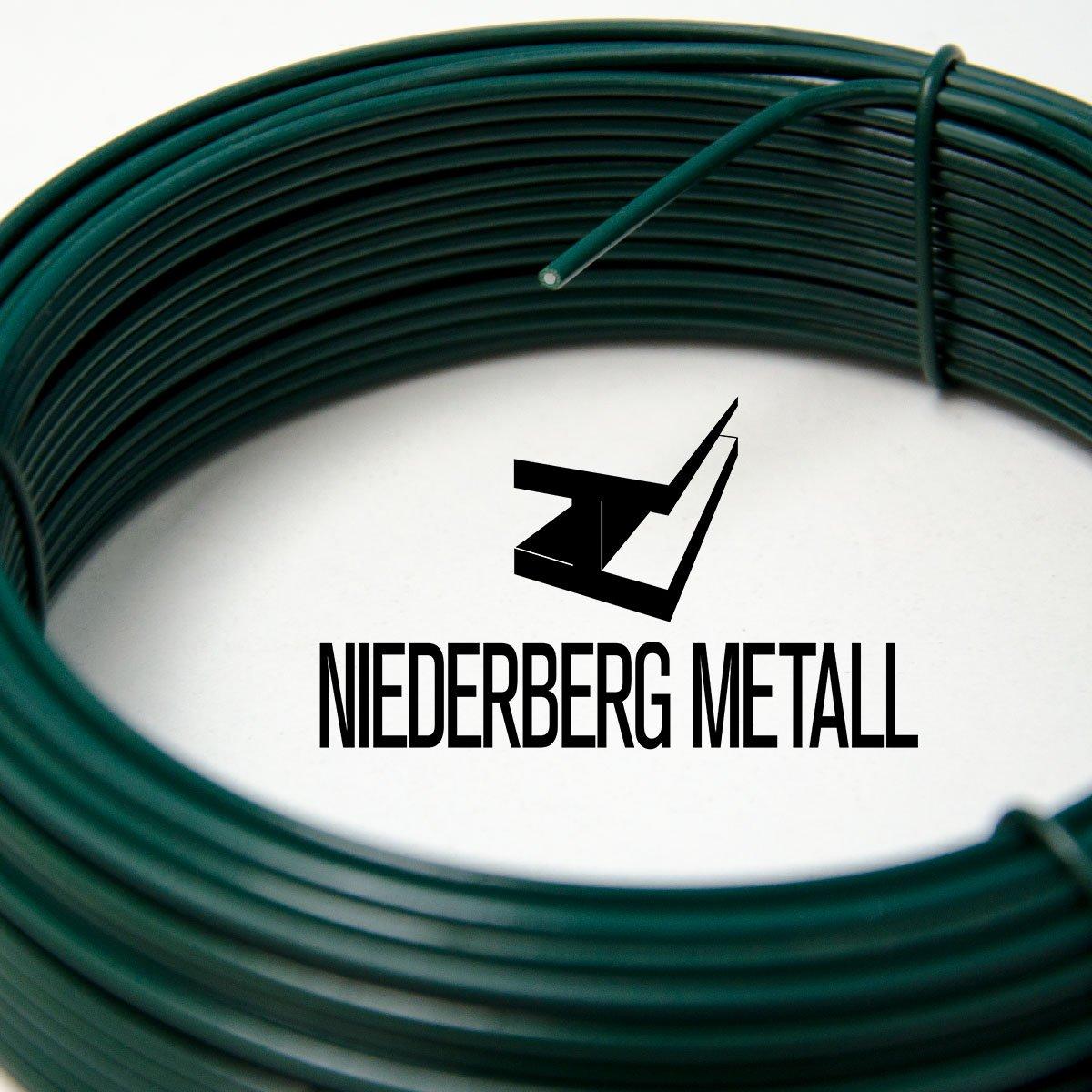 Verde Di/ámetro /Ø2mm NIEDERBERG METALL rollo de Alambre recubierto de PVC 25 m de largo metal protegido por una envoltura de pl/ástico verde
