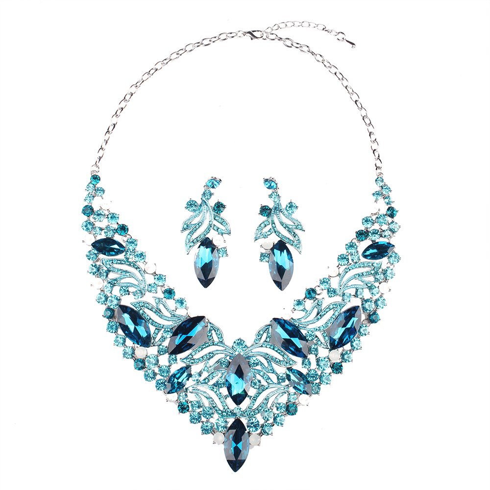 Hamer Costume jewelry Crystal Choker Statement Charm Necklace and Earrings Sets Pendant (Blue)