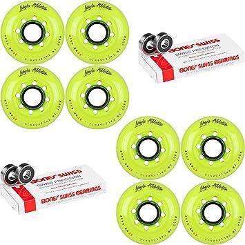 Ruedas de patines de hockey en línea Labeda adicción amarillo 80 mm 4 Set huesos Swiss: Amazon.es: Deportes y aire libre
