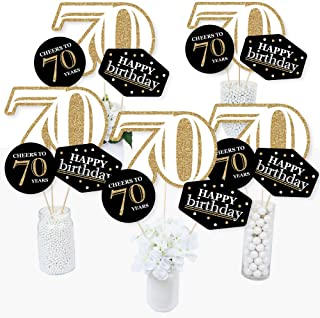 product image for Adult 70th Birthday - Gold - Birthday Party Centerpiece Sticks - Table Toppers - Set of 15