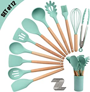 Silicone Kitchen Utensil Set, Cooking Spatulas Soup Ladle Slotted Spoon Turner Pasta Server Basting Brush Tongs Whisk Wooden Handle Heat Resistant Cookware Non-Stick Kitchen Gadgets Tools 12 Pcs