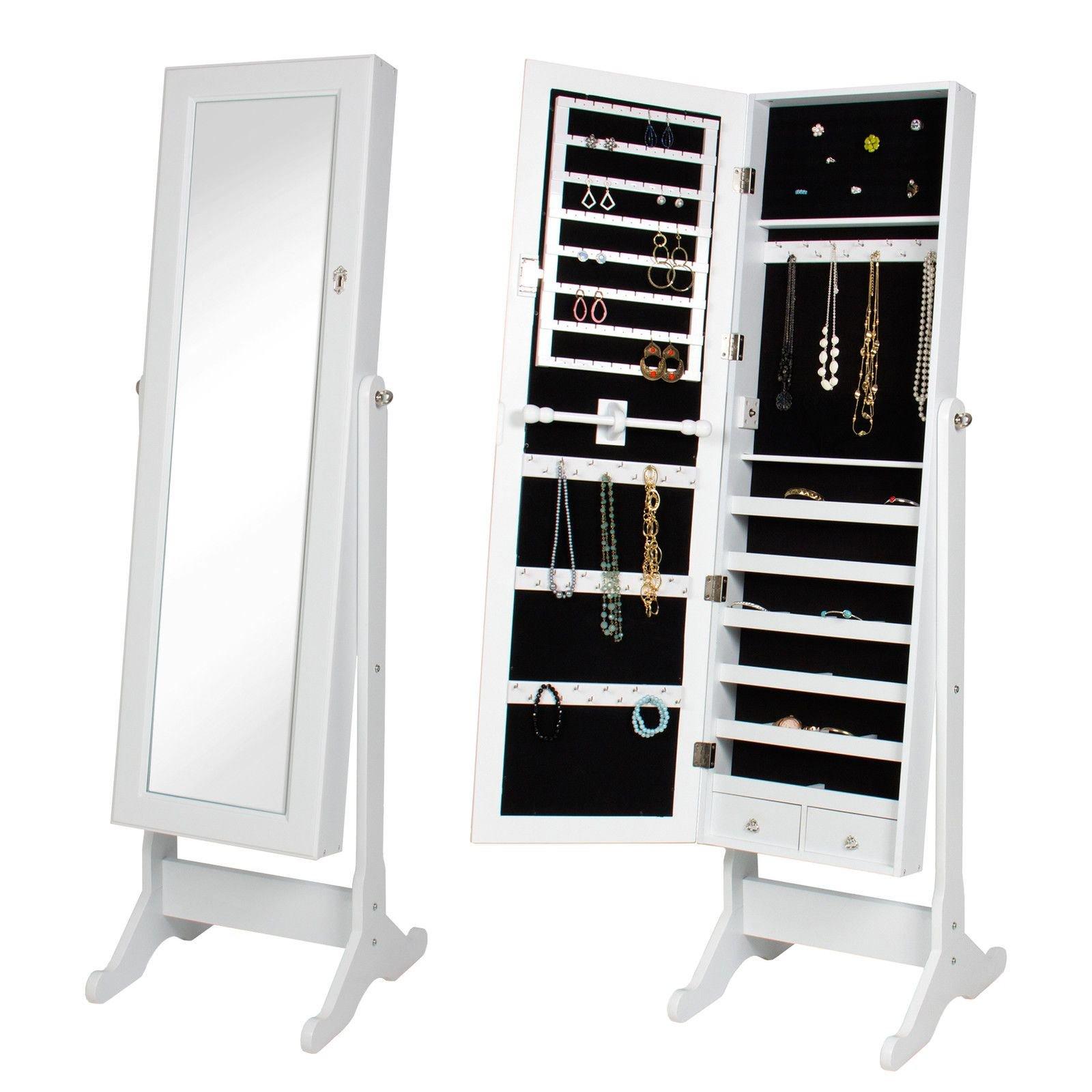 Alitop White Mirror Jewelry Cabinet