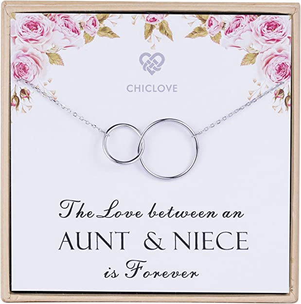 chain and heart pendant gifts for her Niece Sterling silver necklace birthday card or xmas christmas present from Auntie or Uncle sentimental gift women her special
