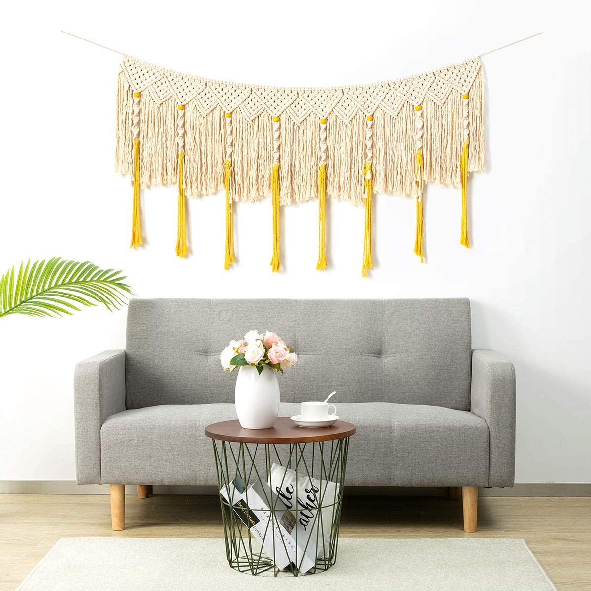 ARTALL Wall Hanging Macrame Curtain Fringe Banner Bohemian Wall Decor Woven Tapestry Home Decoration for Wedding Apartment Bedroom Living Room 62 x 35