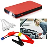 FUSHITON 400A Peak Portable Car Jump Starter 12000mAh Phone Power Bank 12V Auto Battery Charger Pack Booster with LED Flashlight-Red