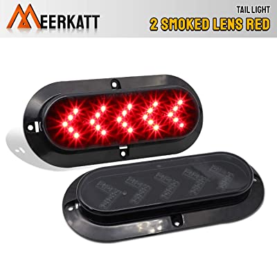 Meerkatt (Pack of 2) 6 Inch Arrow Smoked Lens Red LED Oval Side Mount Marker Clearance Lamp Sealed Reverse Brake up Stop Tail Lights Pickup Duty Truck RV Van Trailer Caravan 12V DC Waterproof 25LED: Automotive