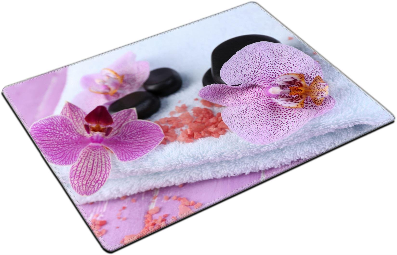 MSD Place Mat Non-Slip Natural Rubber Desk Pads Design: 35235688 Orchid Flowers Spa Stones sea Salt on Towel on Color Wooden Background