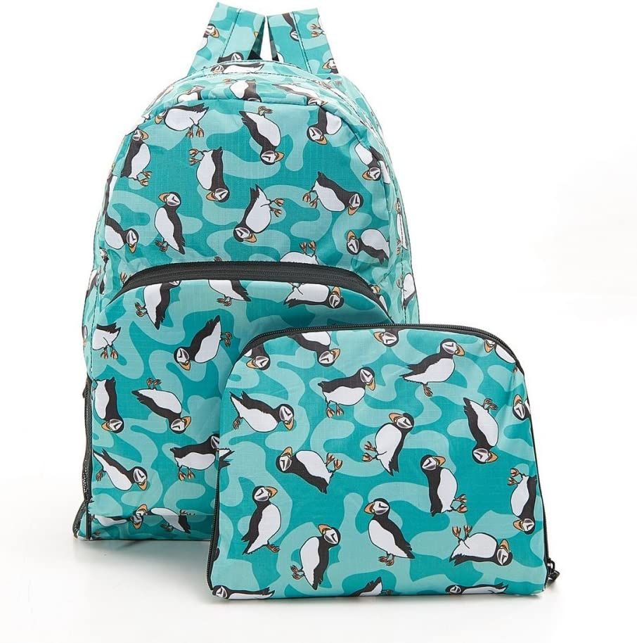Eco-Chic Foldale Expandable Backpack Lightweight Waterproof Bees Green