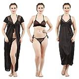 Romaisa Women's Satin Nightwear Set of 4 Pcs Nighty, Wrap Gown, Bra & Thong
