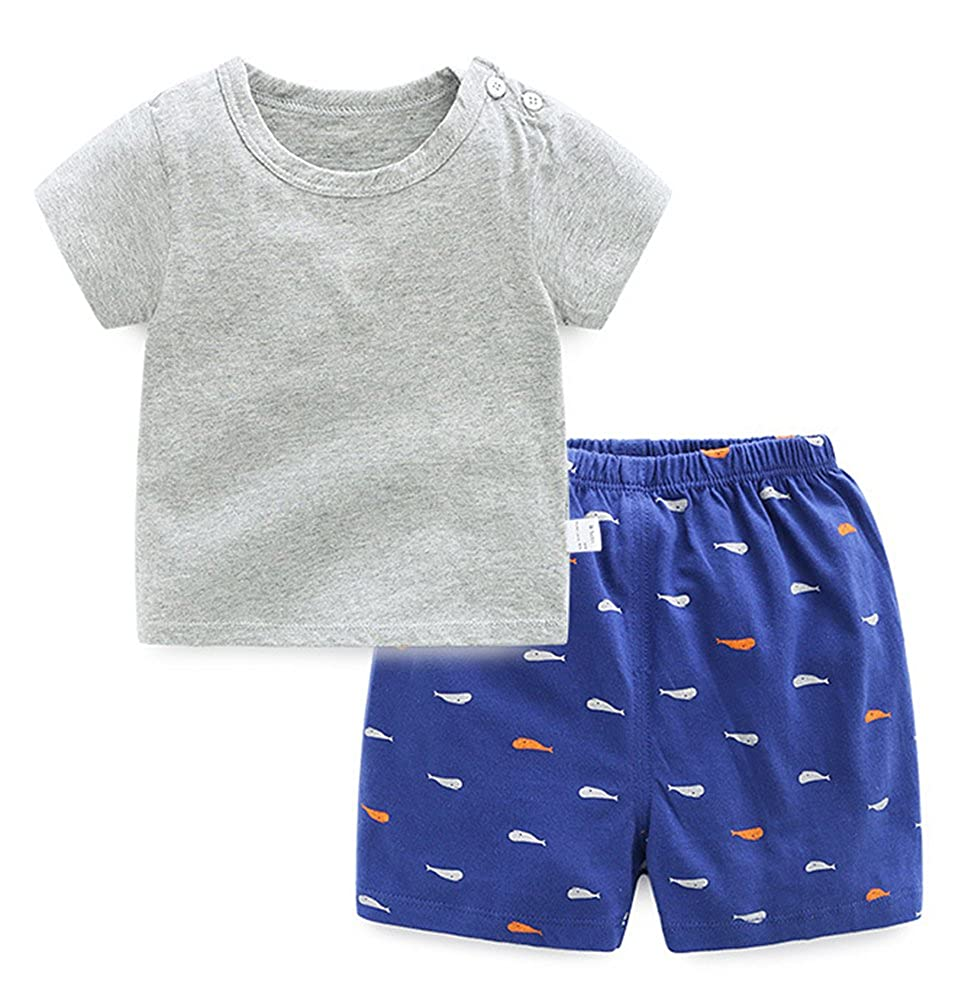 Absolufun Little Boys Solid Elastic Waisted Short Shoulder with Buttons Shorts Outfit