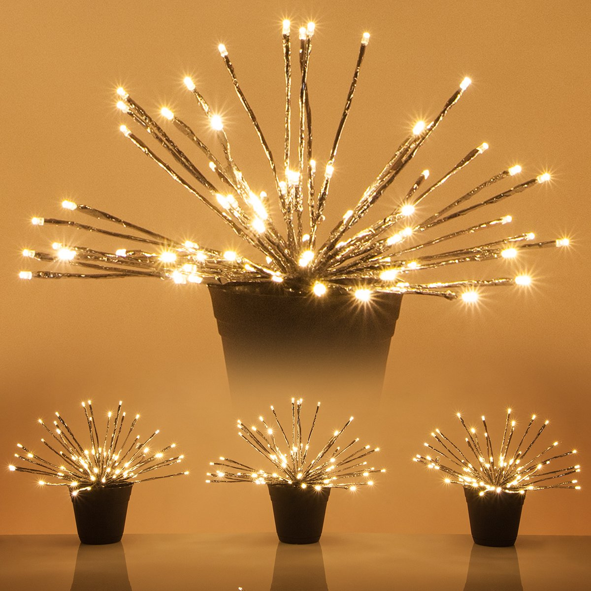 LED Starburst 5mm Lighted Branches - Fairy Light Balls - Christmas Light Balls (15'', Silver Branches/Warm White Twinkle Lights, Set of 3)