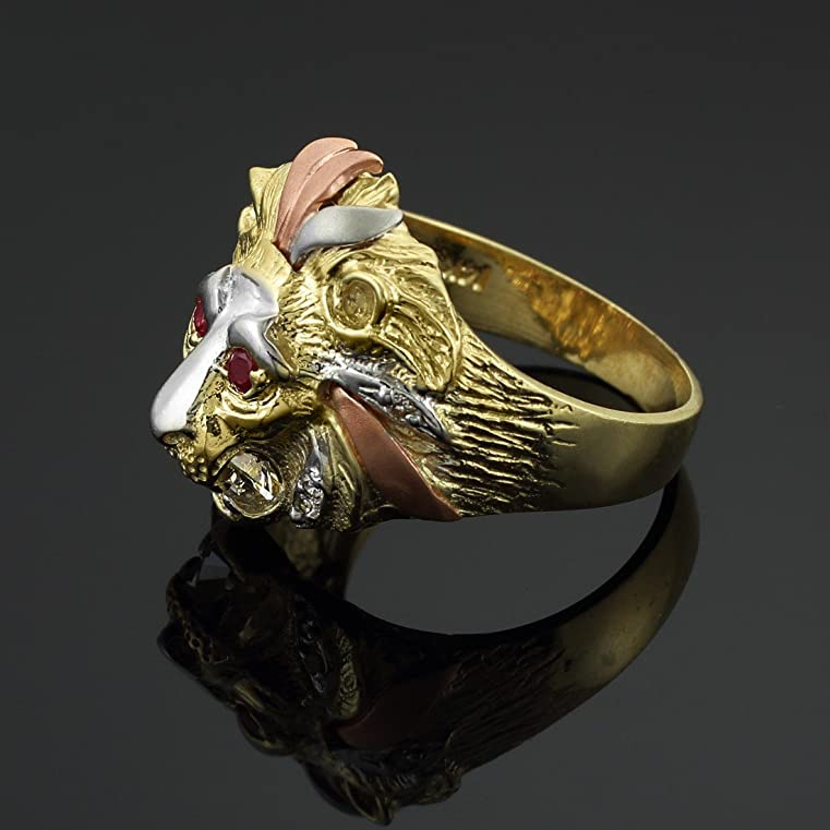 10k Tri color Gold Lion Head Men s CZ Ring Amazon