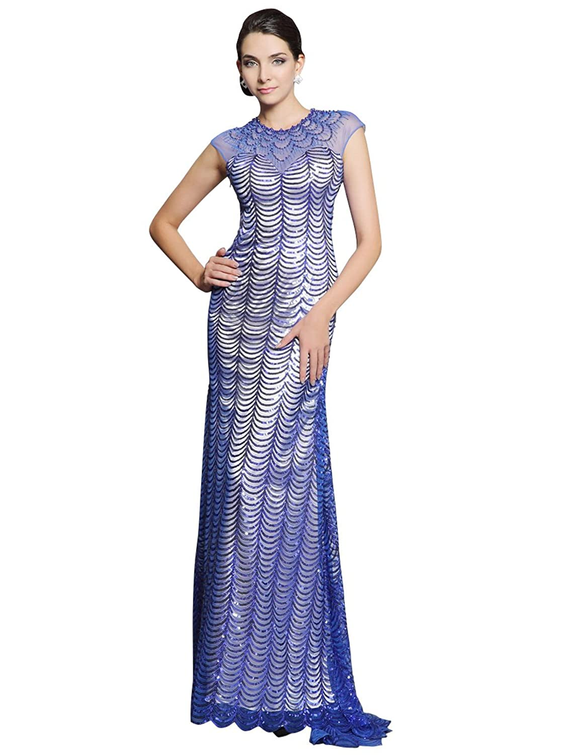 Zhiyuan Mermaid Sequins Long Mother of Bride Dress with Sweep Train
