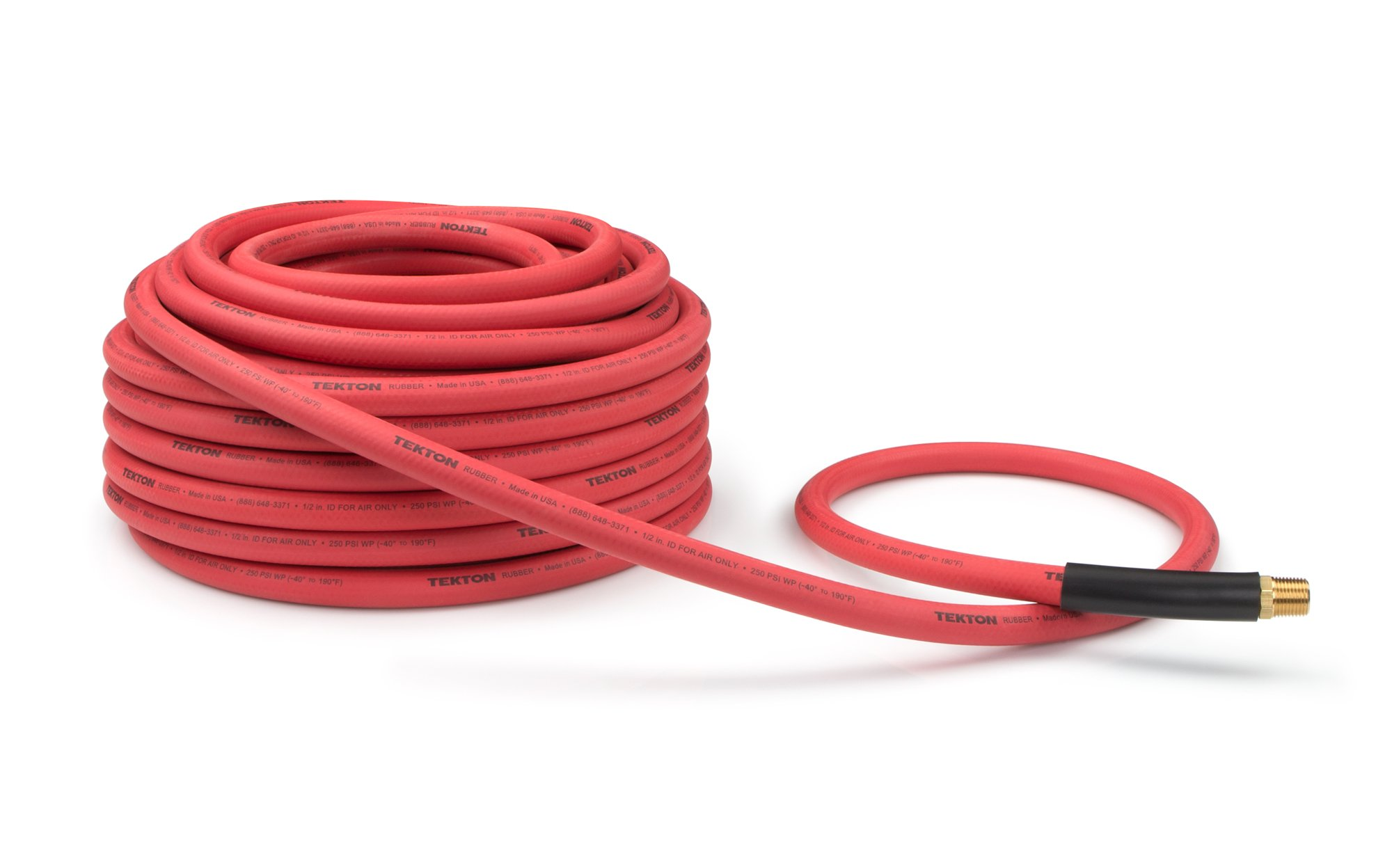 TEKTON 46368 1/2-Inch I.D. by 100-Foot 250 PSI Rubber Air Hose with 1/2-Inch MPT Ends and Bend Restrictors