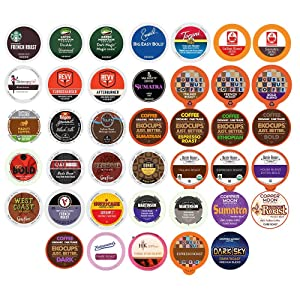 Perfect Samplers Coffee Pod Variety Pack, Dark Roast & Bold Flavors, Single Serve Cups for Keurig K Cup Machines - Robust Assortment, 40Count…