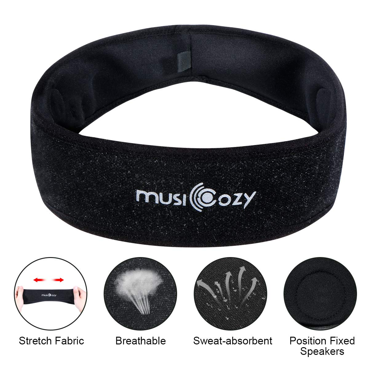 Bluetooth Sleep Headphones Eye Mask, Wu-minglu Sleep Mask Bluetooth Sleeping Headphones Headband Headphones for Sleeping Sleep Headphones Bluetooth Headbands Noise Cancelling,Black