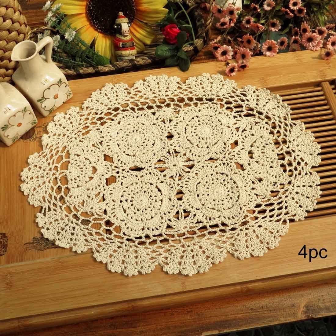 Phantomon Lace Doilies Handmade Crochet Placemats Cotton Doilies Cloth Lace, Pack of 4, Oval Shape, 12 x 17 inch (Beige)