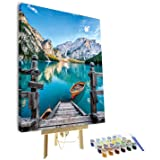 TUMOVO Paint by Numbers for Adults Framed, Nature Skyline Paint by Numbers for Adults, Mountain Landscape Painting by Numbers