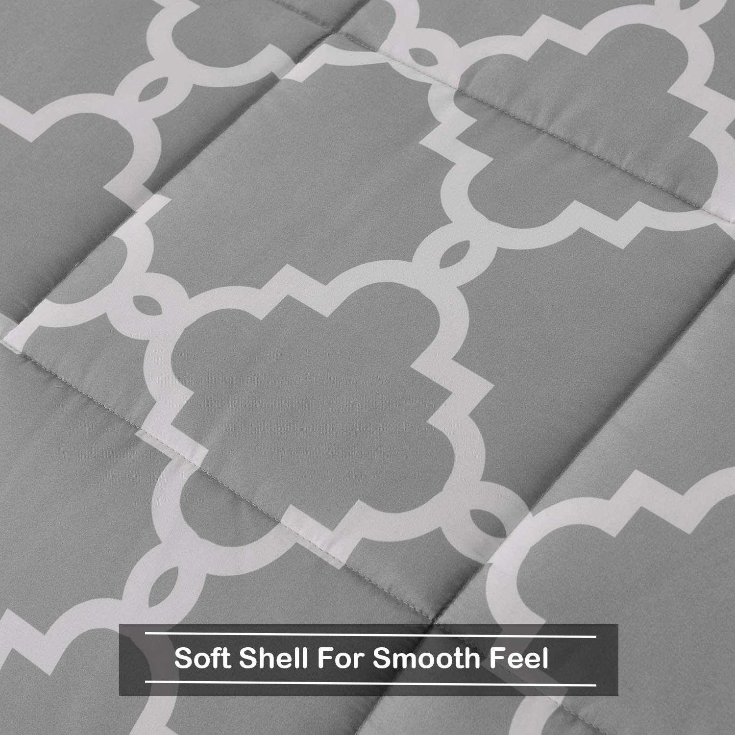 Reversible Bed Comforter with 2 Pillow Shams for All Seasons Basic Beyond Down Alternative Comforter Set King, Grey