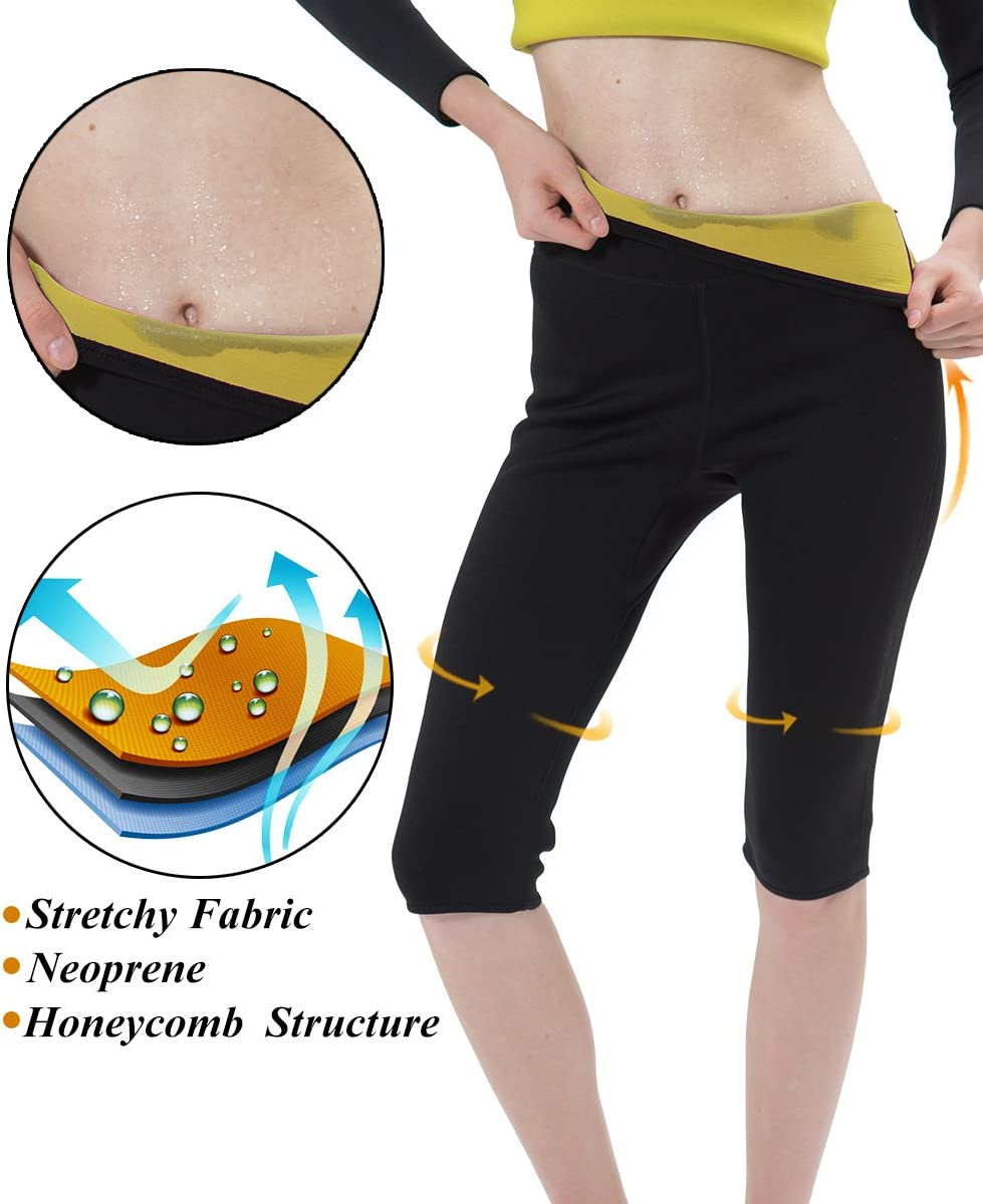Sudor IFLOVE Pantalones de Adelgazamiento para Mujer Quema de Grasa Sauna Capris moldeadores de Leggings Neopreno para p/érdida de Peso