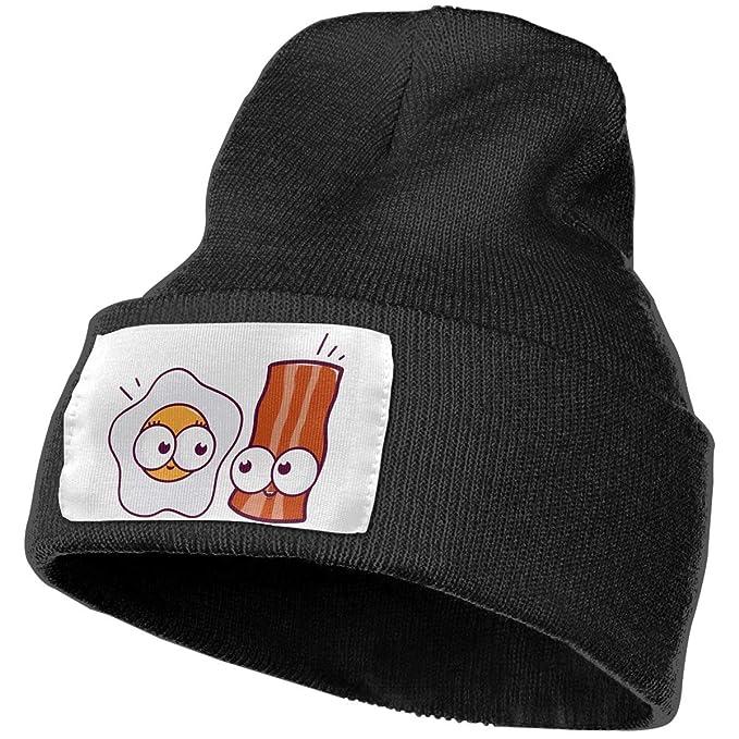 b1351ceba8c TAOMAP89 Bacon Egg Be Friends Men   Women Skull Caps Winter Warm Stretchy  Knitting Beanie Hats