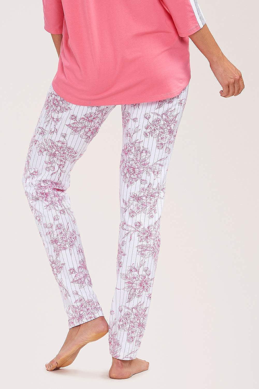 Gr R/ösch Hose Damen lang Schlafanzug-Bundfaltenhose in modisch pinkem Blumenprint S-XL 2193400