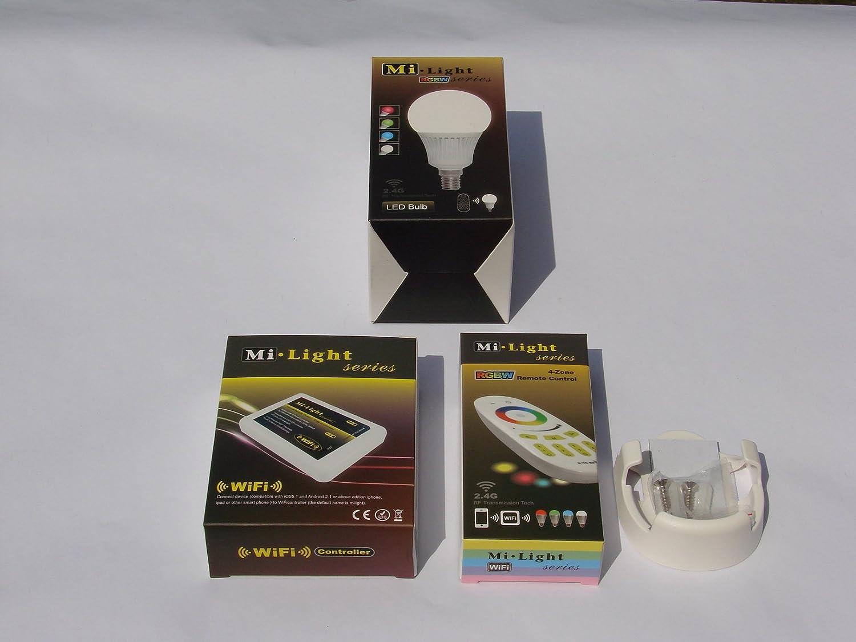 Mi-Light 2,4G 1 x Fernbedienung 4 Zonen + 1 x Halterung für FB + 1 x E14 LED RGB+WW Lampe 5 Watt original MILIGHT® , dimmbar, RGB Farbwechsel , System incl. Mi-Light Wlan Controller IBOX 2, ansteuerbar App IOS   Android