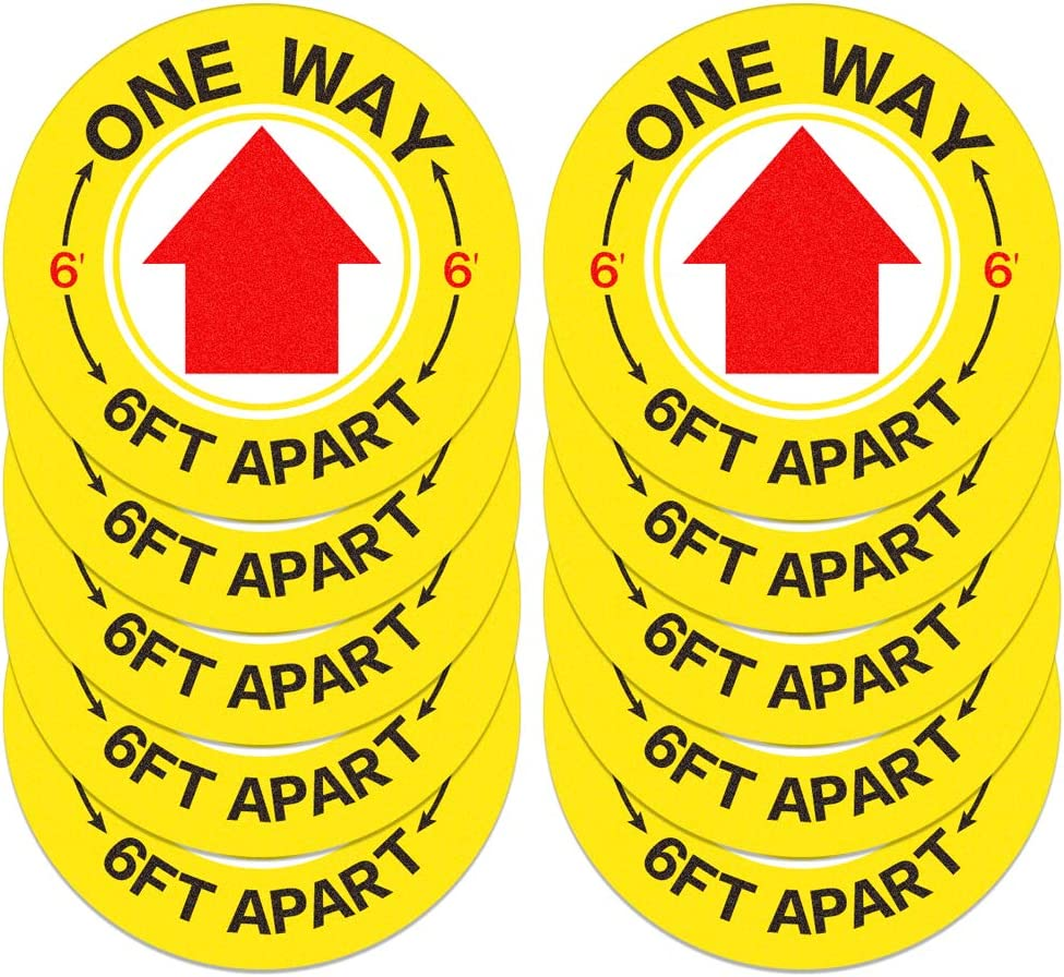 FaCraft Directional Allow Stickers,10pcs,8.25 One Way Social Distance Floor Sticker for Bussiness,Store,School,Pharmacy and Public Places.