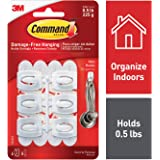 Command Mini Hooks with Command Strips (17006) - White