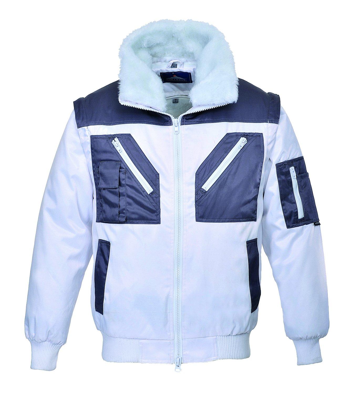 Size: 2X-Large White//Grey Regular Portwest PJ20WHRXXL Series PJ20 Two Tone Pilot Jacket