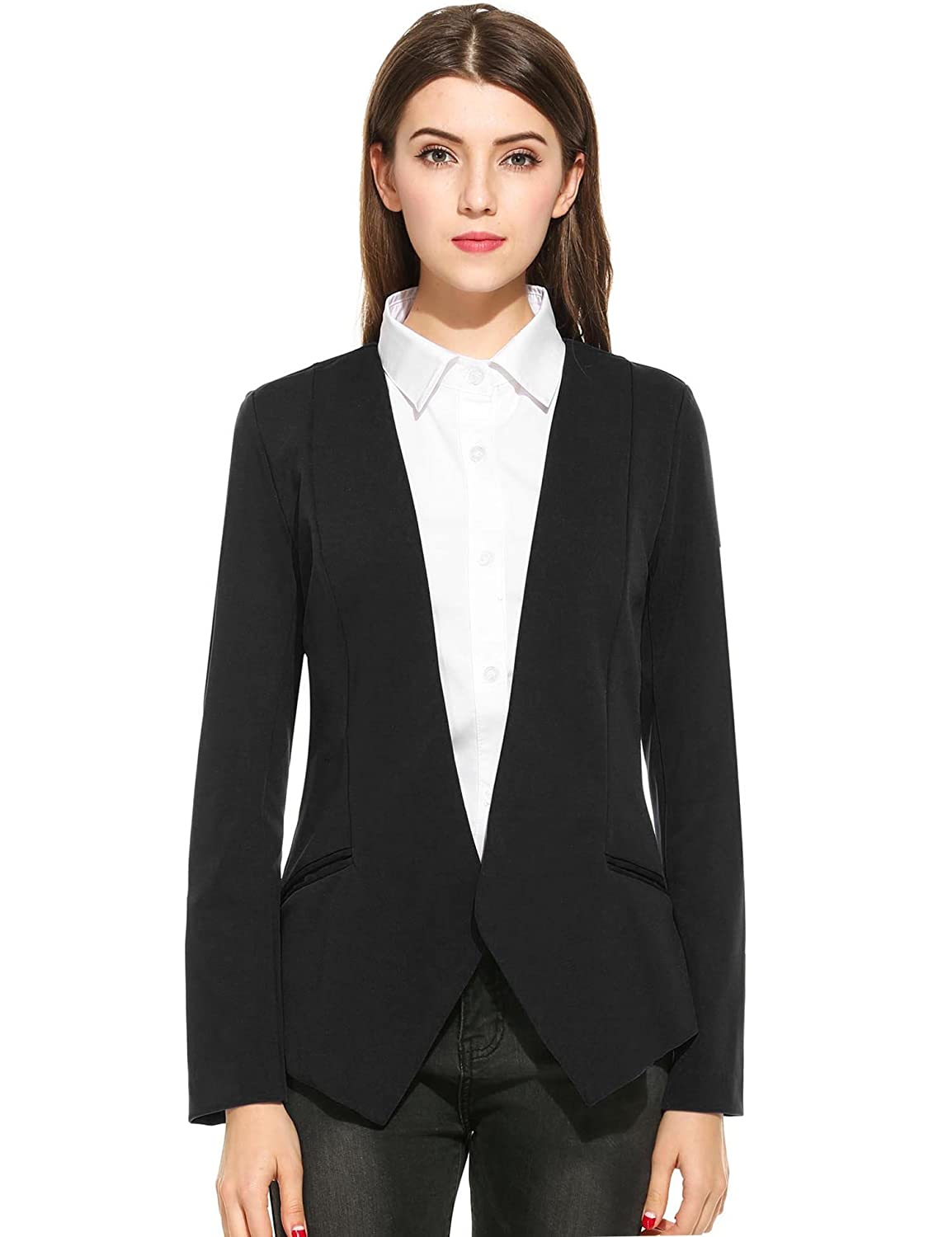 ANGVNS Women Casual Slim Turn Down Collar Curved Swing Blazers Jacket for Work
