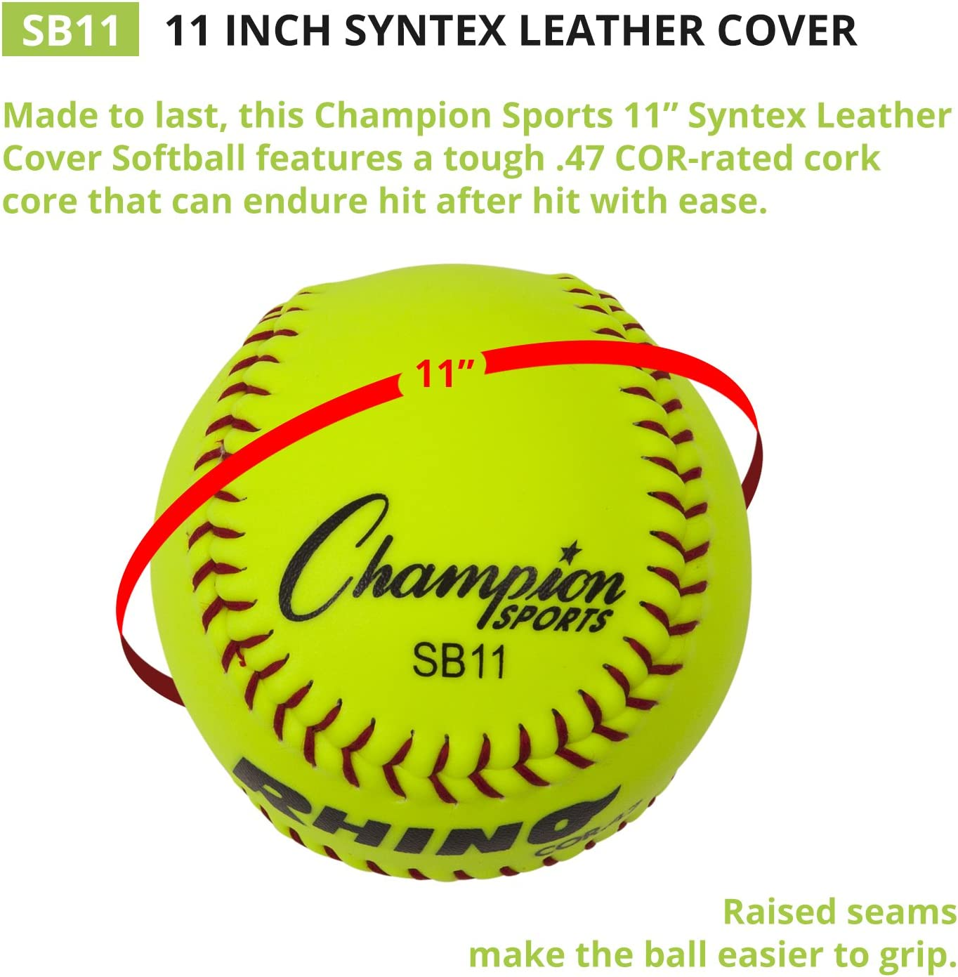 Pack of 12 Champion Sports Optic Yellow Synthetic Leather Softballs