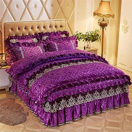 5119576745 Bedding Set Velvet Cover Sets with Bed Skirt Princess Bedding Set Vintage  Floral Print Duvet Cover 4 Piece,Purple,Queen(180cmx220cm) [Energy Class A]