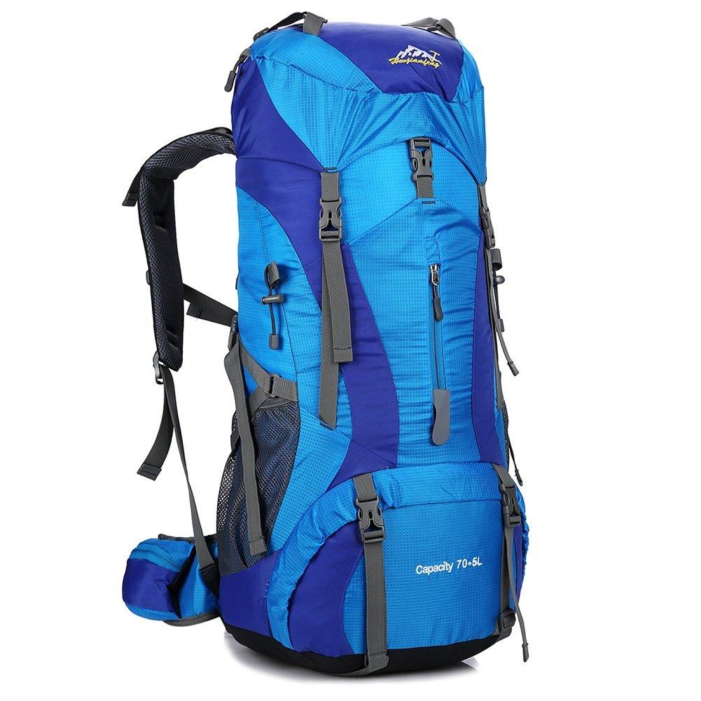 Hiking Backpack Nylon Waterproof Large Capacity Daypack Travel Fishing Trip Cycling Skiing Climbing (Black-75L)