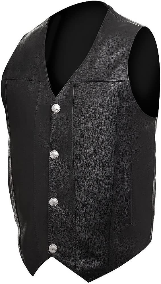 STREET /& STEEL Dakota Leather Motorcycle Vest LG Black