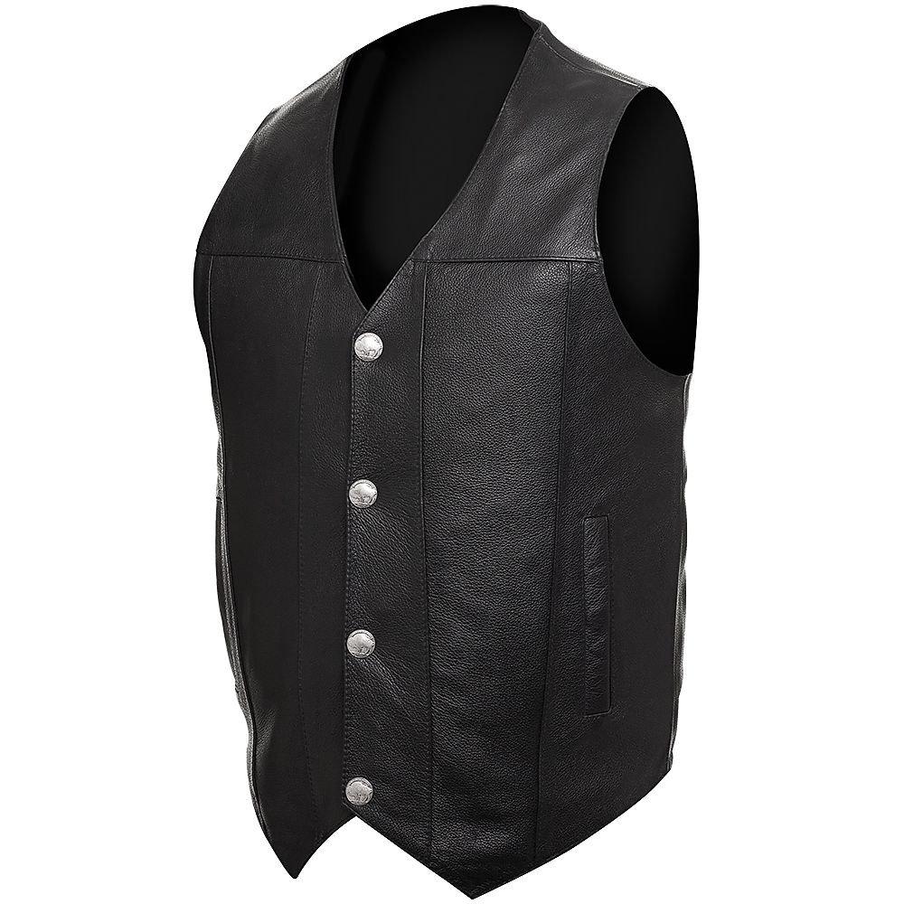STREET & STEEL Dakota Leather Motorcycle Vest - XL, Black