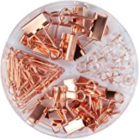 Rose Gold Binder Clips and Paper Clips Push Pins Map Tacks Set with Container, 4 in 1 Boxed, Non-Skid Marking Pins and Clips Kits for Office School Stationery, Total 72 Pcs Desk Accessory