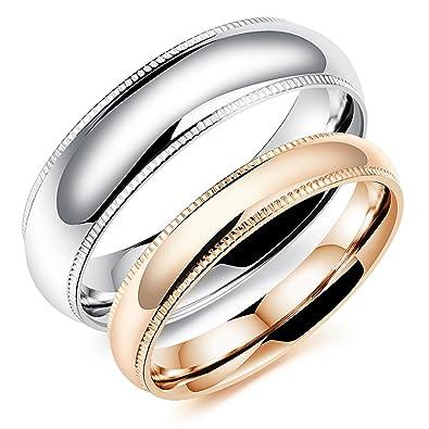 Ilove EU 1 par (2pcs) Anillo de acero inoxidable Rose oro plata Rueda dentada