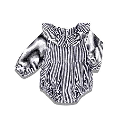 c1afbd2d0 Amazon.com  YOUNGER TREE Newborn Baby Girls Gray Striped Romper ...