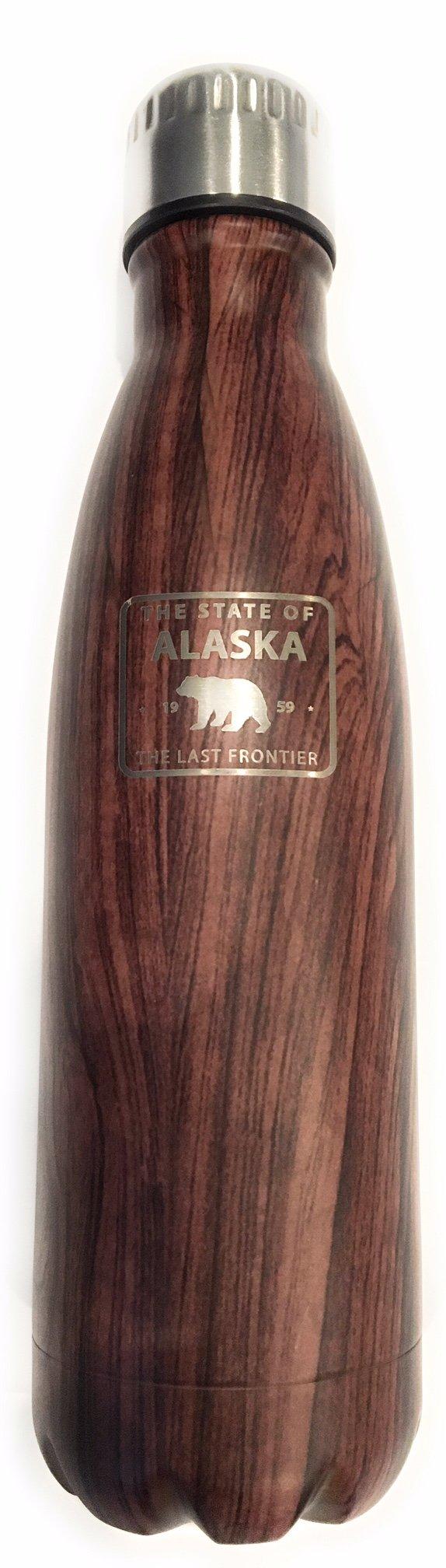 Alaska Last Frontier Insulated Woodgrain Stainless Steel Water Bottle - 16 ounces